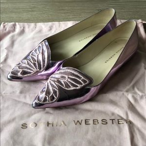 Sophia Webster Butterfly Flat Metallic Lavender